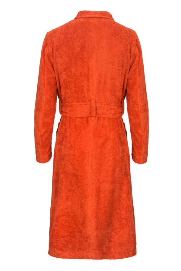 orange cotton towelling dressing gown back