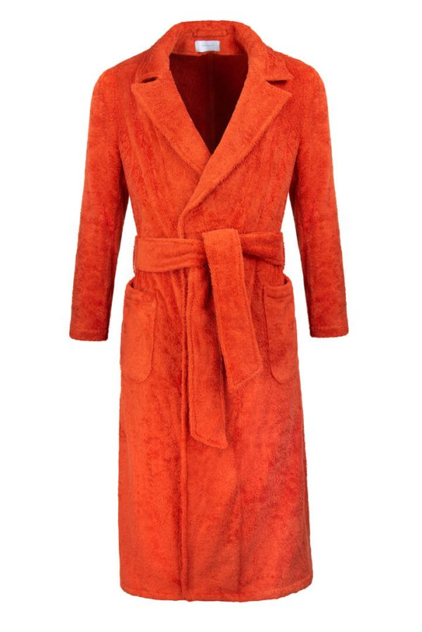 orange cotton towelling dressing gown front