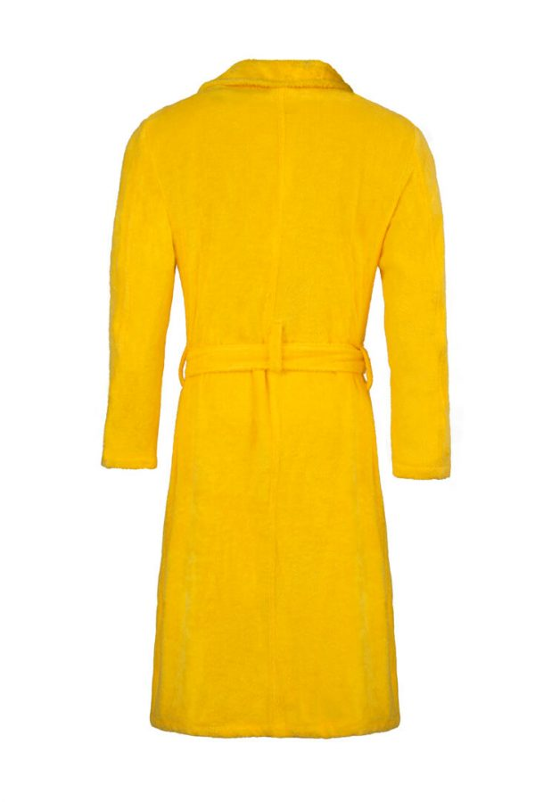 yellow cotton towelling dressing gown back